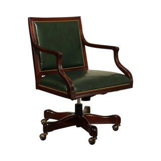 Councill Green Leather Mahogany Swivel Office Desk Chair For Sale