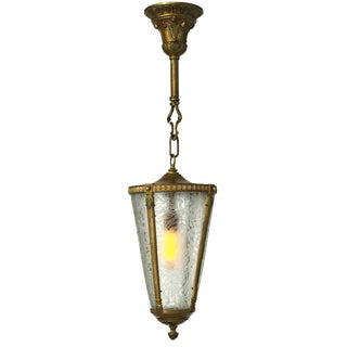 1930s Art Deco Frosted/Etched Glass and Hand Painted Pendant Light
