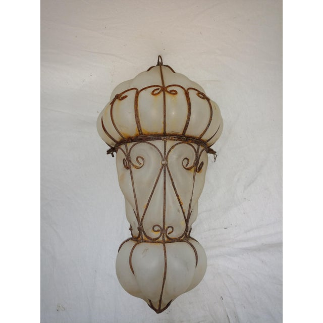 1960s Vintage Egyptian Blown Glass Lantern For Sale - Image 10 of 10