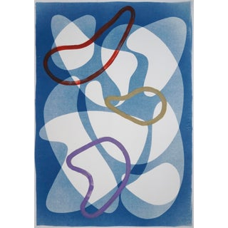 """2020 """"Modern Colorful Shapes Overlapping Blue"""" Contemporary Abstract Mixed-Media on Watercolor Paper For Sale"""