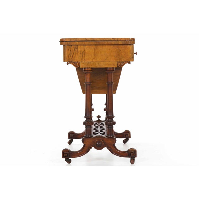 Early Victorian Figured Walnut Antique Games and Work Table, Circa 1860-80 For Sale - Image 4 of 13