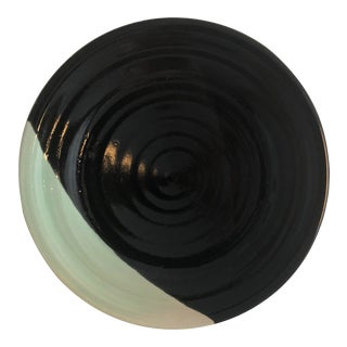 Black and Dipped Blue Mid-Century Platter For Sale
