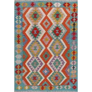 "Pakistani Handwoven All Wool Colorful Reversible Kilim Carpet - 4'1"" X 5'9"" For Sale"