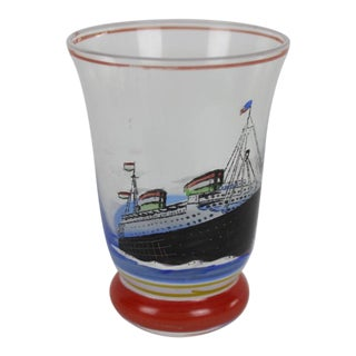 Vintage Shot Glass With Hand-Painted Steam Ship For Sale