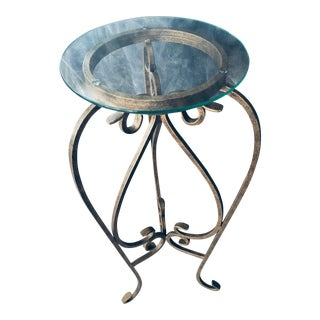 Mid-Century Modern Metal and Glass Plant Stand For Sale