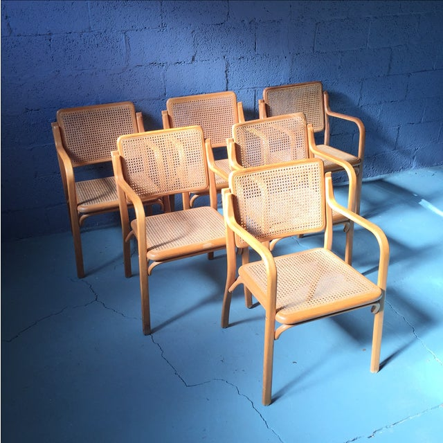 Danish Modern Bentwood Cane Chairs - Set of 6 - Image 2 of 11