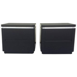 Black Lacquered Nightstands - A Pair