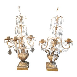 Shabby Chic French Candlabras - a Pair For Sale