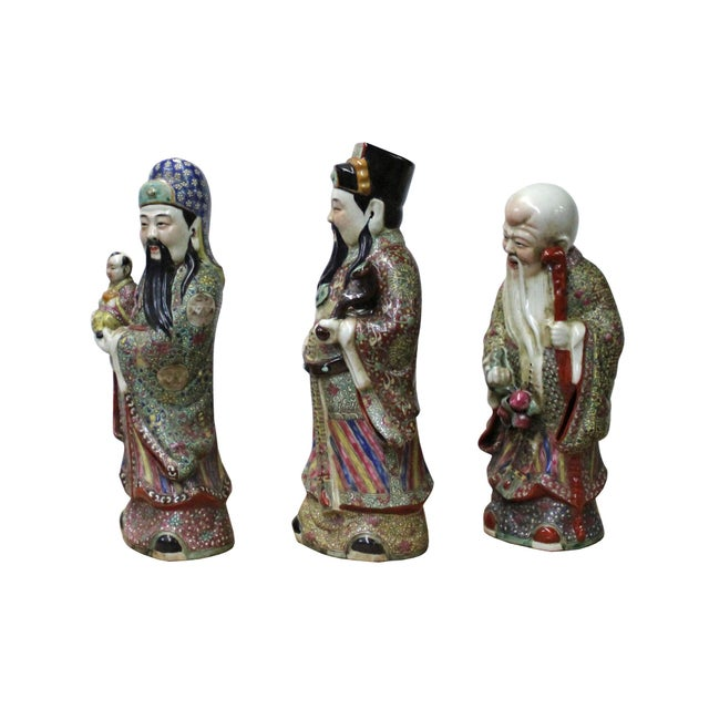 Chinese Chinese Color Mixed Ceramic SanXing ( 3 Deities ) Fu Lu Shou Figure Se For Sale - Image 3 of 7