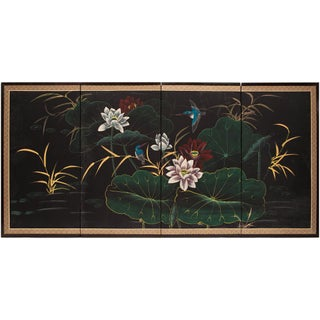 1960s Vintage Chinese Hummingbirds and Lotus Screen For Sale