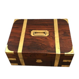 19th Century Campaign English Rosewood Document Box For Sale
