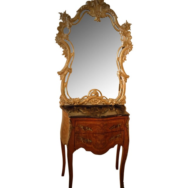 French Rococo Bombe Chest with Gilt Rococo Mirror For Sale