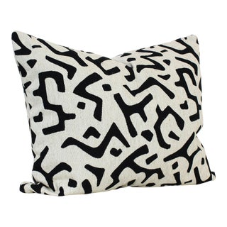 Custom Made Black and White Linen Pillow Cushion For Sale