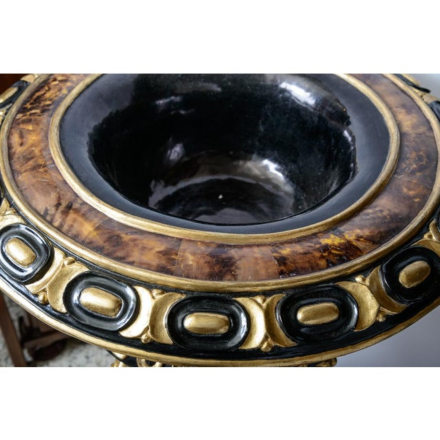 Pair of Gilt and Faux Tortise Shell Planters For Sale In West Palm - Image 6 of 8