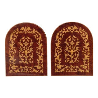 Italian Inlaid Burl Wood Bookends - a Pair For Sale