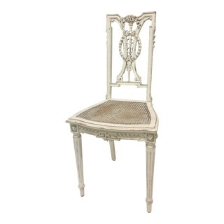 1990s F. Louis XVI Chair Hand Carved in White For Sale