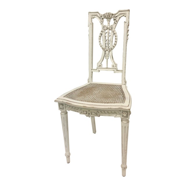 F. Louis XVI Chair Hand Carved in White For Sale