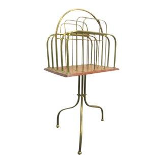 Victorian Brass & Oak Magazine Rack For Sale