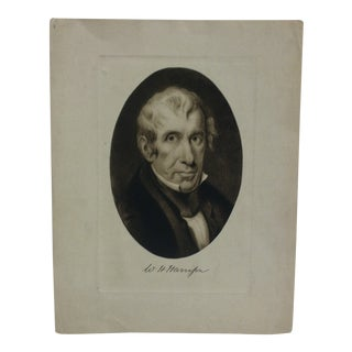 """Vintage Presidential Print on Paper """"W.H. Harrison"""" Circa 1900 For Sale"""