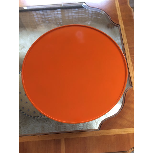 """Not Yet Made - Made To Order Hermes Orange Inspired 21"""" Round Bar Serving Tray For Sale - Image 5 of 13"""