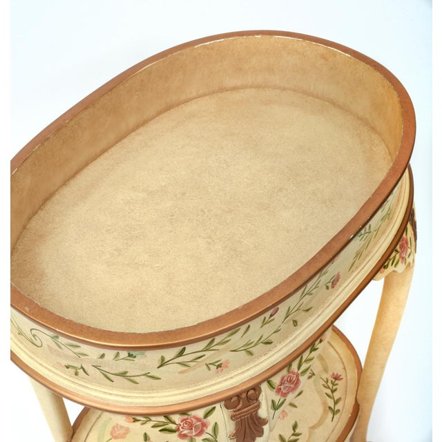 Gold Vintage Wood Hand Painted Serving / Side Tray Table For Sale - Image 8 of 13