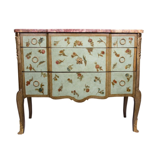 19th Century Louis XV/XVI Transitional Style Painted Commode For Sale