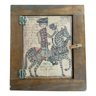 Wooden Cabinet With Horse and Rider For Sale