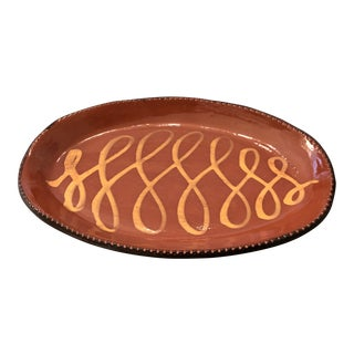 Redware Platter With Yellow Slip and Pie Crust Edge For Sale