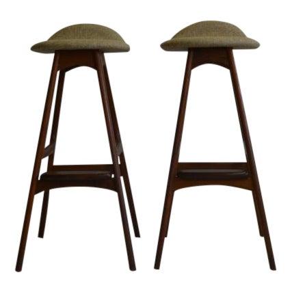 Eric Buch Teak Bar Stools - A Pair - Image 1 of 5