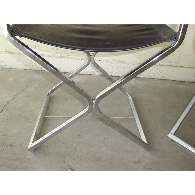 Vintage Contemporary Black Chrome Accent Chairs - A Pair For Sale - Image 10 of 11