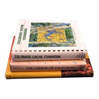 Dinner Party Cookbook, Cuisine of California, Colorado Cache Cookbook - Set of 3 For Sale