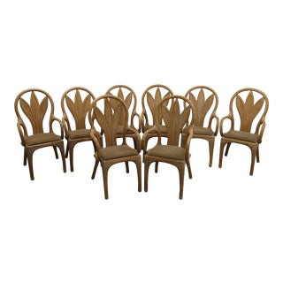 Gorgeous Set of 8 Vintage Rattan Mid-Century Art Nouveau Style Dining Chairs For Sale