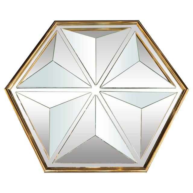 Mid-Century Modern Sculptural Hexagonal Brass Mirror With Raised Pyramidal Forms For Sale