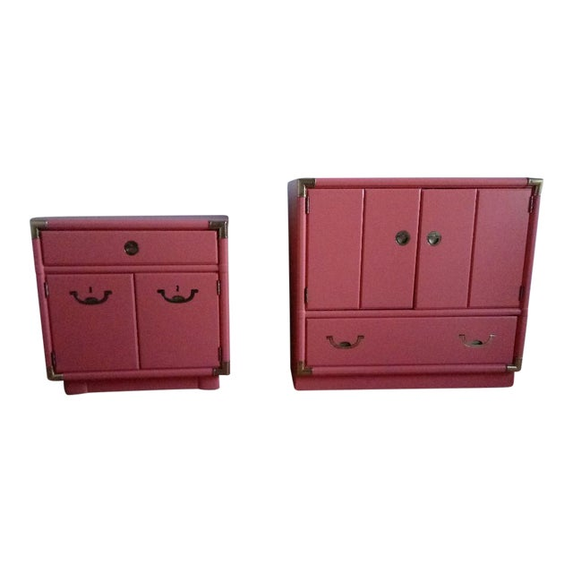 Drexel Accolade Campaign Coral Nightstands - a Pair For Sale