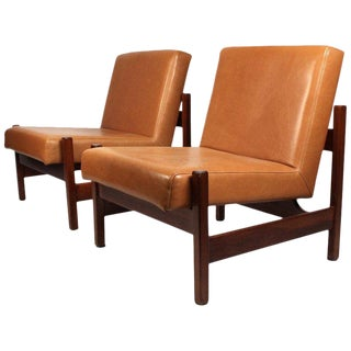 Joaquim Tenreiro Style Peroba Lounge Chairs in Leather for Knoll & Forma Brazil For Sale