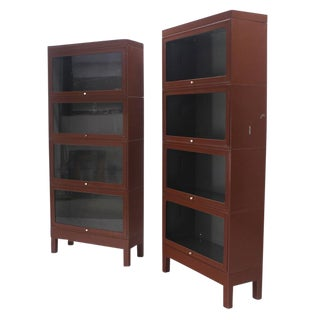 Pair of Metal Industrial Barrister Four Sections Bookcases Cabinets For Sale