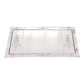 Antique Venetian Etched Wall Mantel Mirror For Sale