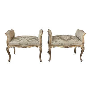 Pair Antique Armbenches, Italian Baroque Giltwood For Sale