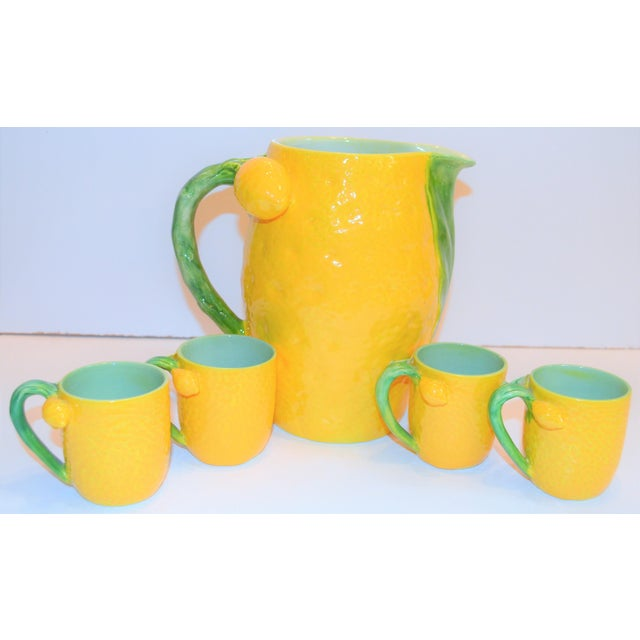 1970s (Final Markdown). Majolica Limoncello Pitcher and Cups- 5 Pieces For Sale In Houston - Image 6 of 7