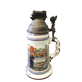 "Lithophane German Stein Beer Mug Train Ww1 9.5"" H"