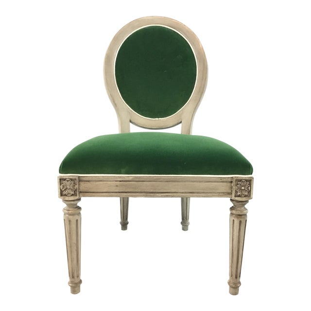Mark Sikes for Henredon French Style Carlyle Green Velvet Chair For Sale