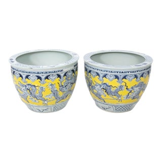 Mid 20th Century Blue Painted Fish Bowls - a Pair For Sale