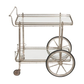 French Vintage Silver Bar Cart For Sale