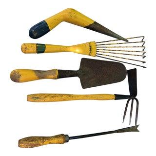 Set of 5, Vintage, Yellow Garden Tools