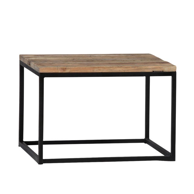 Reclaimed wood iron end table chairish for Buy reclaimed wood los angeles