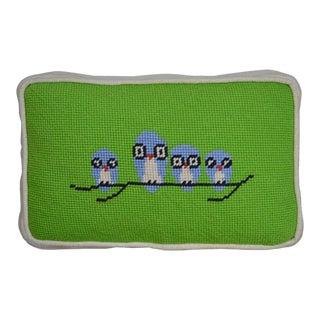 Handmade Needlepoint Pillow Birds on a Limb For Sale
