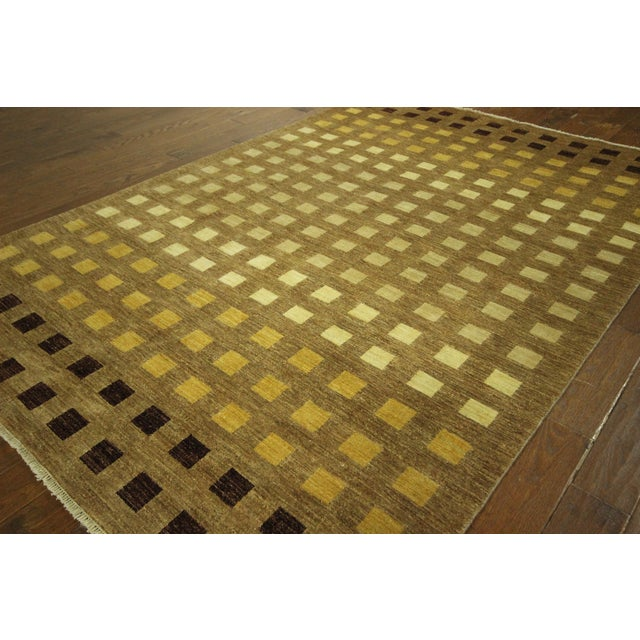"Gabbeh Checkered Wool Rug - 7'9"" x 9'8"" - Image 3 of 9"