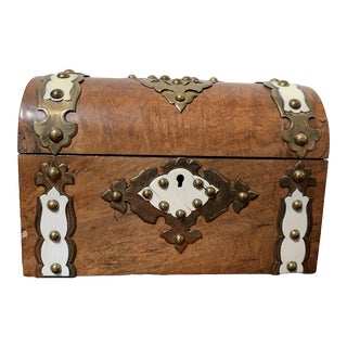 Antique English Burl Wood and Bone Tea Caddy For Sale