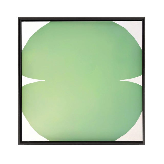 Contemporary Contemporary Abstract Graphic Celadon and White Painting by Brooks Burns, Framed For Sale - Image 3 of 4