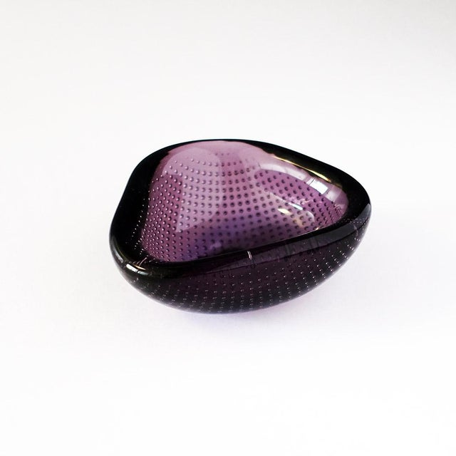 Erickson Glass Co. Vintage Small Purple Bullicante Ring Dish For Sale - Image 4 of 4